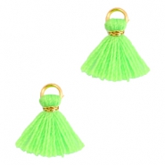 Ibiza style small tassels Gold-Neon green