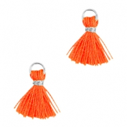 Ibiza style small tassels Silver-Neon orange