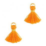 Ibiza style small tassels Gold-Russet orange