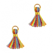 Ibiza style small tassels Gold-Multicolor red yellow