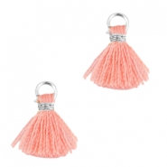 Ibiza style small tassels Silver-Rose peach