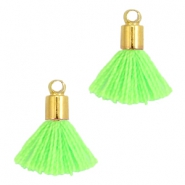 Ibiza style small tassels with end caps Gold-Neon green