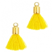 Ibiza style small tassels with end caps Gold-Mimosa yellow