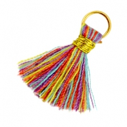 Ibiza style tassels 2cm Gold-Multicolor red yellow