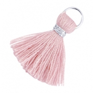 Ibiza style tassels 2cm Silver-Antique pink
