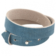 Nubuck Cuoio bracelet leather dubble 8 mm for 12 mm cabochon Denim Blue