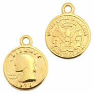 DQ metal charms coin Gold (nickel free)