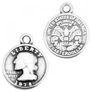 DQ metal charm coin Antique silver (nickel free)