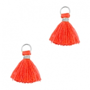 Tassels ibiza style 1cm Silver-vermillion coral red orange