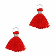 Tassels ibiza style 1cm Silver-scarlet red
