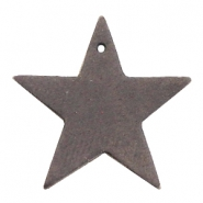 DQ leather charms star Dark vintage brown