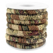 Trendy stichted cord 6x4mm Multicolor beige-brown-green