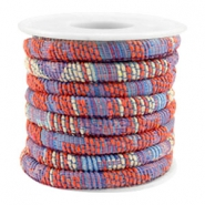 Trendy stichted cord 6x4mm Multicolor coral red-blue