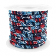Trendy stichted cord 4x3mm Multicolor dark blue-red