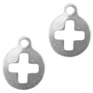Stainless steel charm round with cross Silver