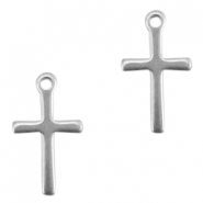 Stainless steel charm cross Silver