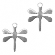 Stainless steel charm dragon fly Silver