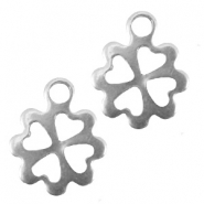 Stainless steel charm shamrock Silver