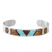 Open stainless steel bracelet with Miyuki beads Silver-Turquoise
