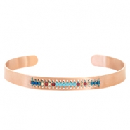 Open stainless steel bracelet with Miyuki beads Rose gold-Turquoise blue