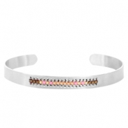 Open stainless steel bracelet with Miyuki beads Silver-Pink