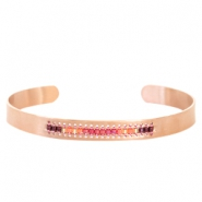 Open stainless steel bracelet with Miyuki beads Rose gold-Pink