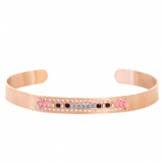 Open stainless steel bracelet with Miyuki beads Rose gold-Gray