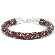 Crystal diamond bracelets 8mm Siam red-anthracite