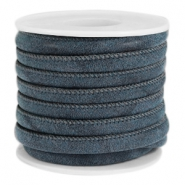 Faux stitched leather 6x4 mm Dark blue grey
