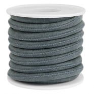 Faux stitched leather 6x4 mm Grey blue