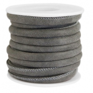 Faux stitched leather 6x4 mm Granite grey