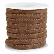 Faux stitched leather 6x4 mm Rich brown