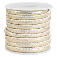 Faux stitched reptile leather 6x4 mm Soft beige-Champagne gold metallic
