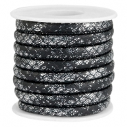 Faux stitched reptile leather 6x4 mm Black-Silver metallic