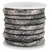 Faux stitched reptile leather 6x4 mm Dark grey-Silver metallic