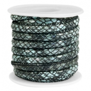 Faux stitched reptile leather 6x4 mm Dark grey-Mint green