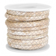 Faux stitched reptile leather 6x4 mm Beige
