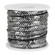 Faux stitched snake leather 6x4 mm Black-Silver metallic