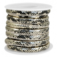 Faux stitched snake leather 6x4 mm Black-Champagne gold metallic