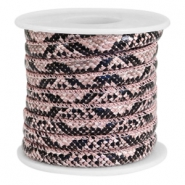 Faux stitched snake leather 6x4 mm Black-Pink