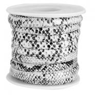 Faux stitched snake leather 6x4 mm Black-White