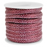 Faux stitched lizard leather 6x4 mm Mulberry red metallic
