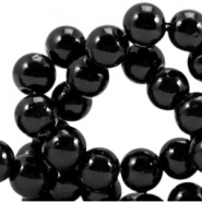 Opaque glass beads 8 mm Black