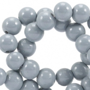 Opaque glass beads 8 mm Cool grey