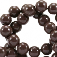 Opaque glass beads 8 mm French roast brown