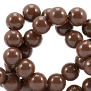 Opaque glass beads 8 mm Mocha brown