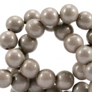 Opaque glass beads 8 mm Metallic greige taupe