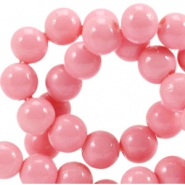 Opaque glass beads 8 mm Rouge pink