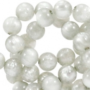 Pearl shine round 6 mm polaris beads Light Silver shade