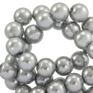 Waxed 10 mm glass pearls Grey